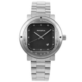Zilverkleurig Rond Prisma Heren Horloge met Vierkante Zwarte Wijzerplaat
