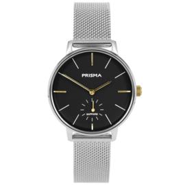 Prisma Zilverkleurig Dames Horloge met Milanese Horlogeband
