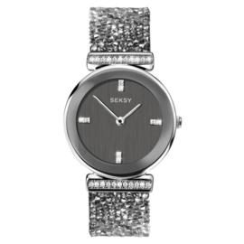 Sekonda Zilverkleurig SEKSY Dames Horloge met Grijze Zirkonia's