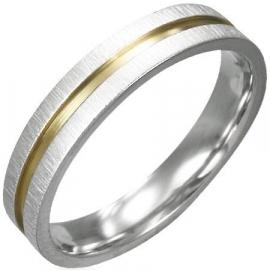 Ring zilver- met goudkleur - Graveer Ring SKU20772