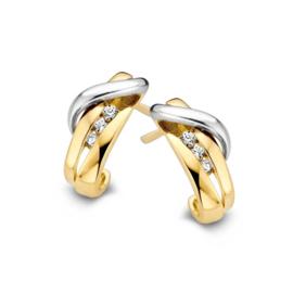 Excellent Jewelry Dubbele Geelgouden Oorstekers met Zirkonia's