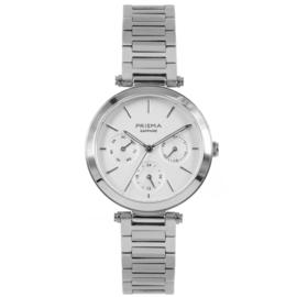 Prisma Zilverkleurig Dames Horloge met Moderne Schakelband