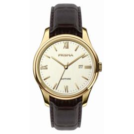 Prisma Goudkleurig Alfa Heren Horloge met Bruin Leder