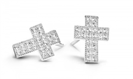 Kruis Oorstekers van Zilver met  CZ van New BLiNG