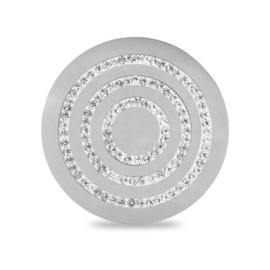 LOCKits Zilverkleurige Munt met Drie Zirkonia Cirkels 33mm