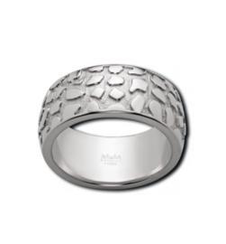 Brede Zilverkleurige Ring met Reliëf Patroon van M&M