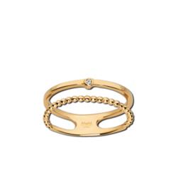 Goudkleurige Dubbele Ring met Bolletjes en Zirkonia van M&M