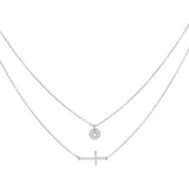 Super Stylish Zilveren Ketting met Kruis en Zirkonia Hanger