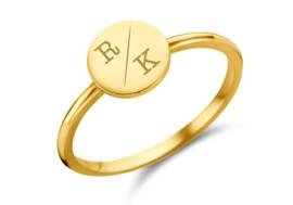 Gouden Disc Ring met Twee Initialen | Names4ever