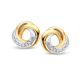 Excellent Jewelry Creatieve Bicolor Twist Oorstekers met Diamanten