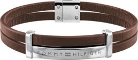 Bruin Lederen Dubbele Armband van Tommy Hilfiger