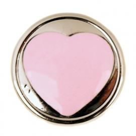 Candy Roze Hart drukknoop BEC0100-10