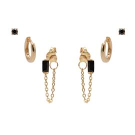 Karma Jewelry – Zesdelige  Black on Black Earparty Set - Rosé