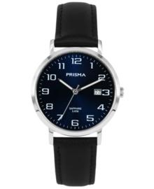 Basic Zilverkleurig Heren Horloge met Blauwe Wijzerplaat