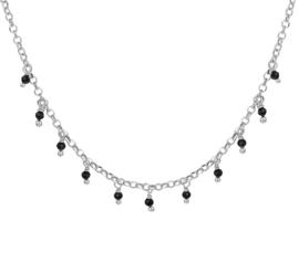 Zilveren Collier met Schakels en Zwarte Strass-steentjes