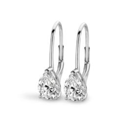 New Bling Luxe Zilveren Oorhangers met Druppelvormige Facetgeslepen Zirkonia's
