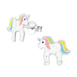 Zilveren Kinderoorbellen Regenboog Eenhoorn met Glitters