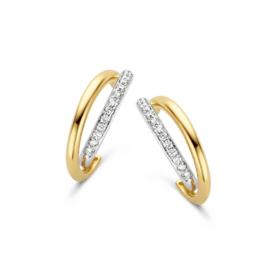 Excellent Jewelry Bicolor Oorstekers met Meerdere Diamanten