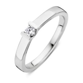 Excellent Jewelry Vlakke Witgouden Ring met Kleurloze 0,10 crt. Briljant