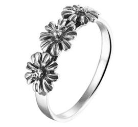 Geoxideerde Drie Bloemen Ring van Zilver
