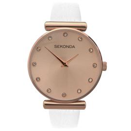 Fris Roségoudkleurig Dames Horloge met Witte Horlogeband