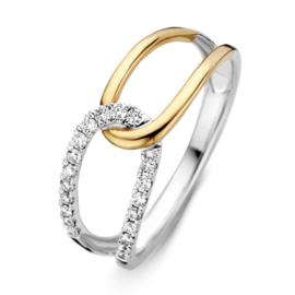 Excellent Jewelry Bicolor Ring met Twee Lussen en Diamanten