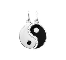 Yin Yang Breekhanger van Gepolijst Zilver met Emaille 10.09675