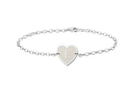 Zilveren Names4ever Armband met Hartvormige Letterhanger