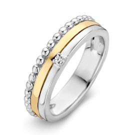 Excellent Jewelry Bicolor Ring met Bolletjes Rand en Zirkonia