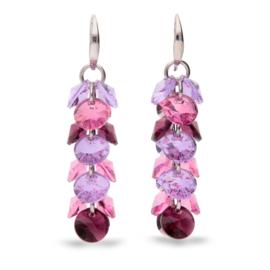 Frou Frou Roze met Paarse Swarovski Oorbellen van Spark Jewelry