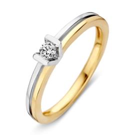 Excellent Jewelry Bicolor 3,4mm Ring met Briljant in V-vorm