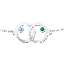 Names4ever Dubbele Cirkel Zilveren Moeder en Dochter Geboortesteen Graveer Armband