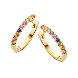 Excellent Jewelry Gouden Oorringen met Rainbow Saffier