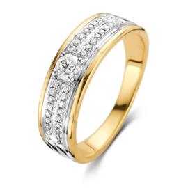 Excellent Jewelry Brede Wit- met Geelgouden Ring met Diamanten