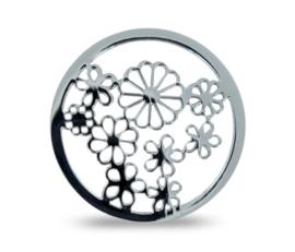 LOCKits Zilverkleurige Duo Munt met Bloemetjes 33mm
