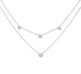 Dubbel Zilveren Collier met Meerdere Zirkonia Hangers