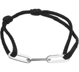 Zwart Gevlochten Armband met Zilveren Schakels