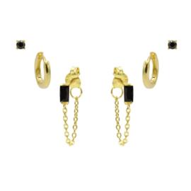 Karma Jewelry – Zesdelige  Black on Black Earparty Set - Gold