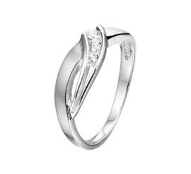 Gepolijste Ring van Zilver met Diagonale Rij Zirkonia's