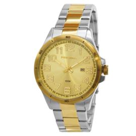 Prisma Heren Horloge met Edelstalen Horlogeband en Goudkleurige Wijzerplaat