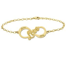 Love Armband van Goud met Infinity Naamhanger > Names4ever