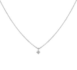 Witgouden Anker Collier met Beeldschone Diamant Hanger