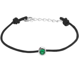 Zwarte Armband met Synthetische Smaragd