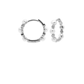 Zilveren Oorringen met Witte Parels   Karma Jewelry