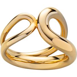 Goudkleurige Edelstalen Ring met Twee Lussen van M&M
