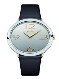 Zilverkleurig Ovaltime Dames Horloge met Zwarte band van M&M