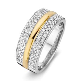 Excellent Jewelry Brede Witgouden Ring met Gouden Strook en Diamanten