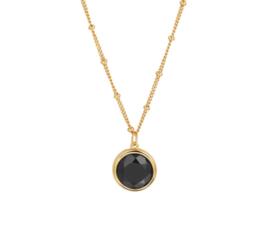Zilveren Collier met Goudkleurige Coating en Zwarte Onyx Edelsteen