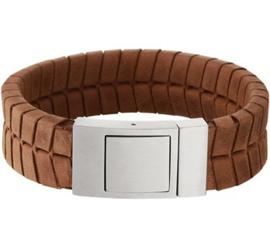 Lichtbruin Lederen Profiel Armband met Edelstalen Sluiting - Graveer sieraad