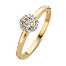 Excellent Jewelry Bicolor Ring met Rond Plaatje met Briljant